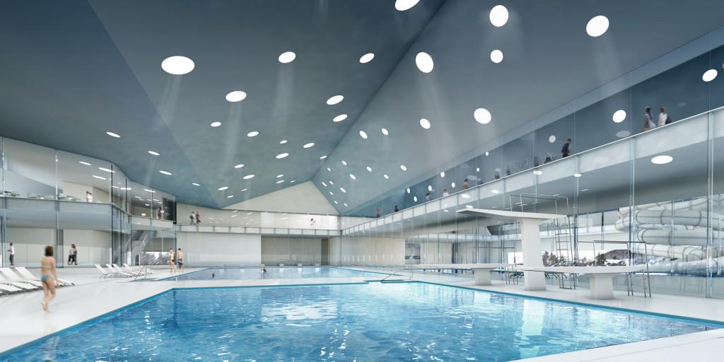 Centro deportivo piscina cubierta en saint moritz for Piscinas cubiertas barcelona